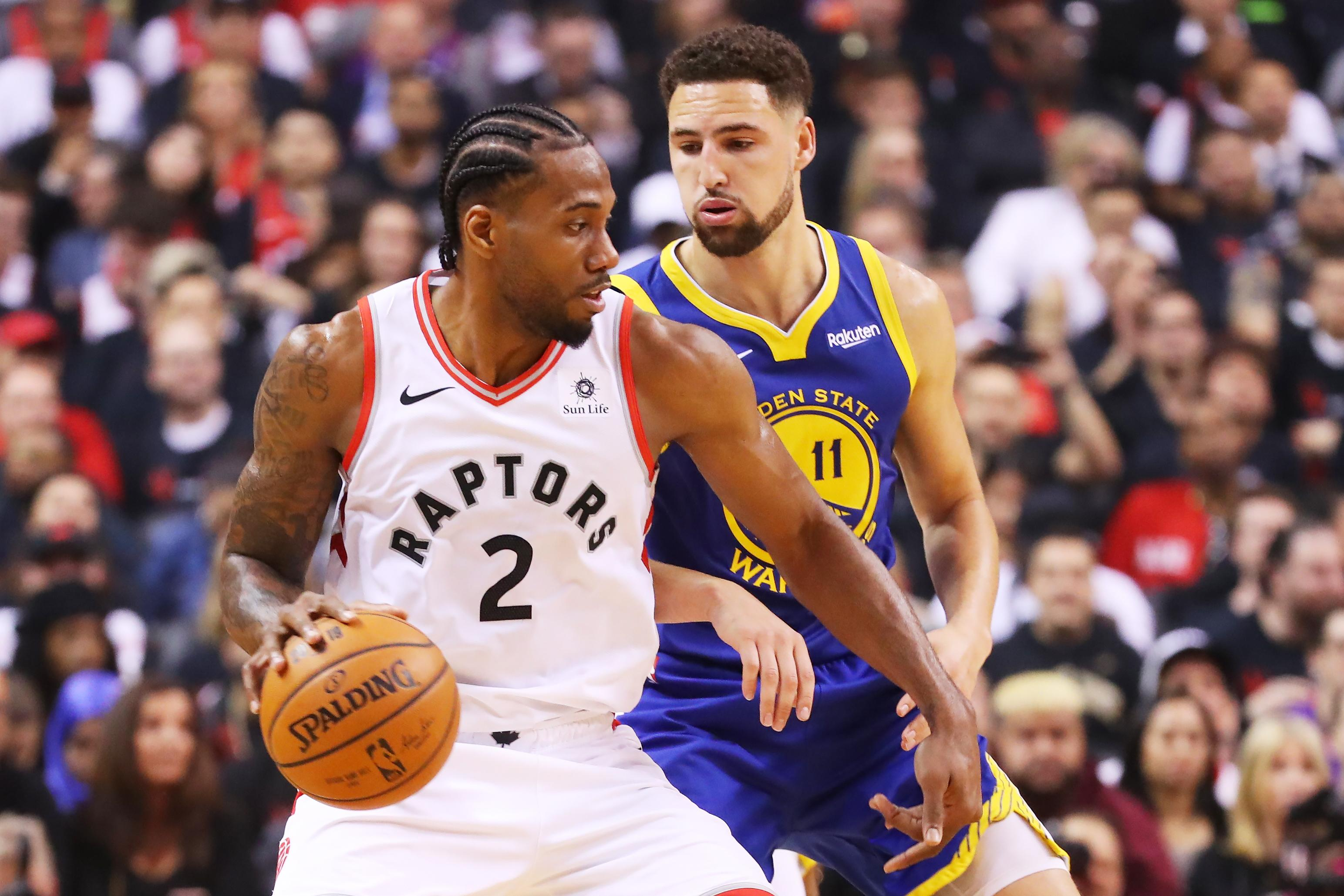 Kawhi Leonard Klay Thompson Raptors Warriors
