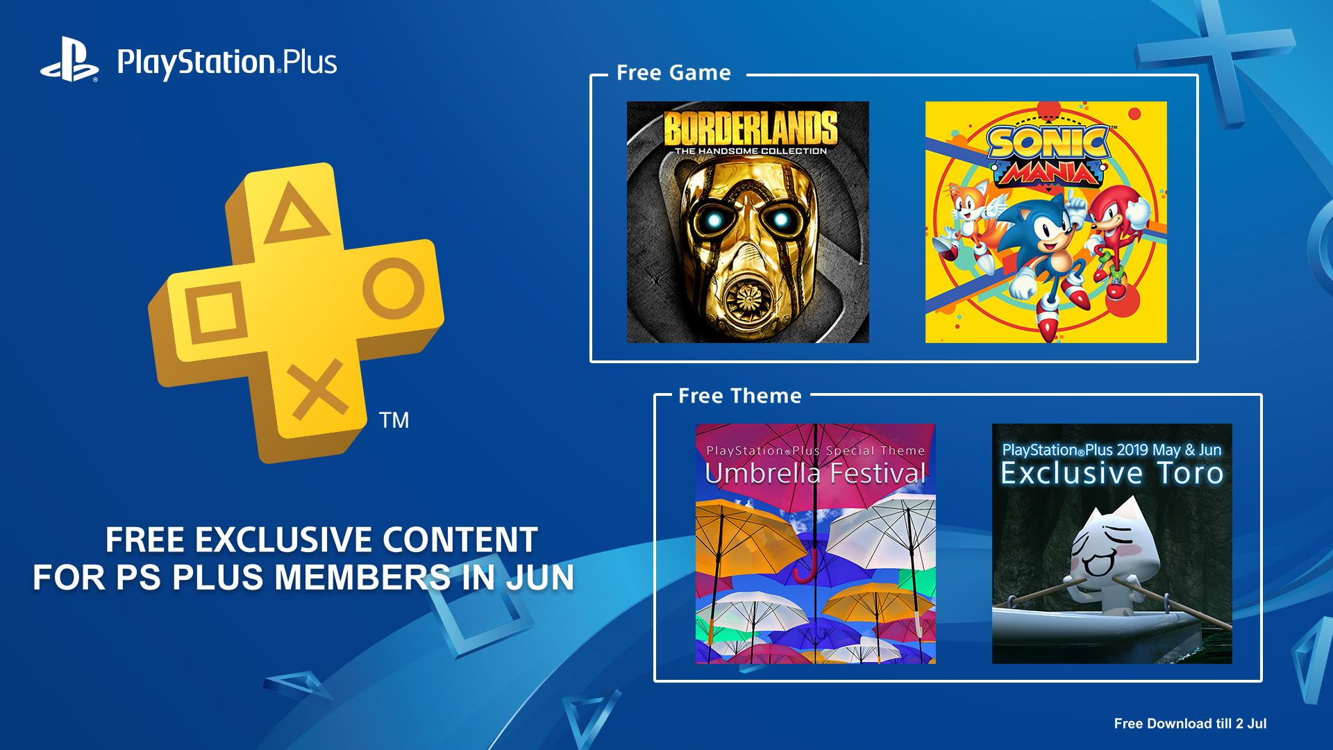 The June PlayStation Plus Games Are Sonic Mania and Borderlands