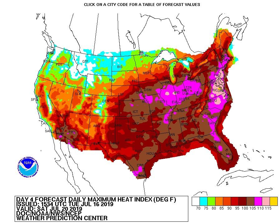 Day 4 heatwave forecast for the USA July 2019