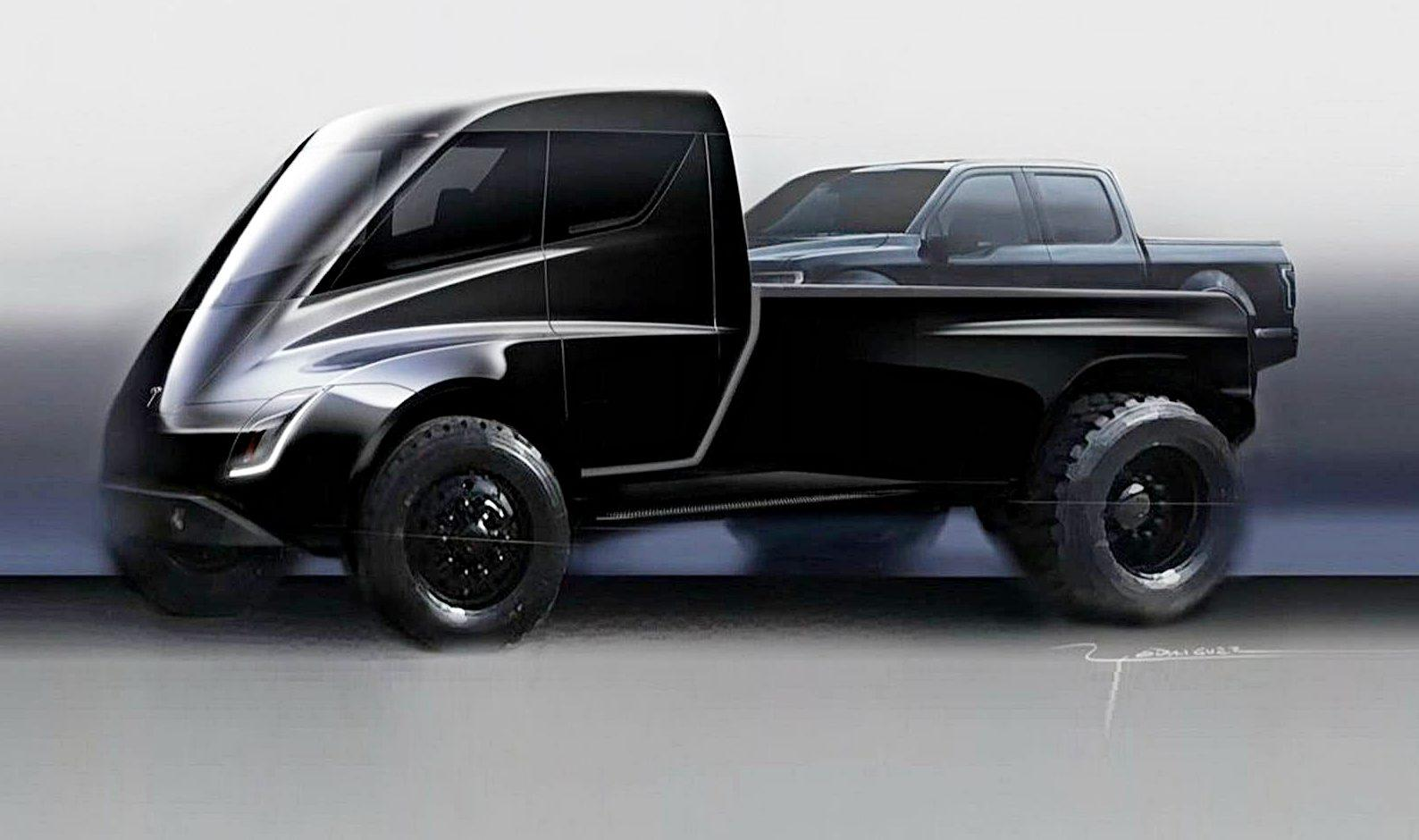 Tesla pickup on a Tesla truck