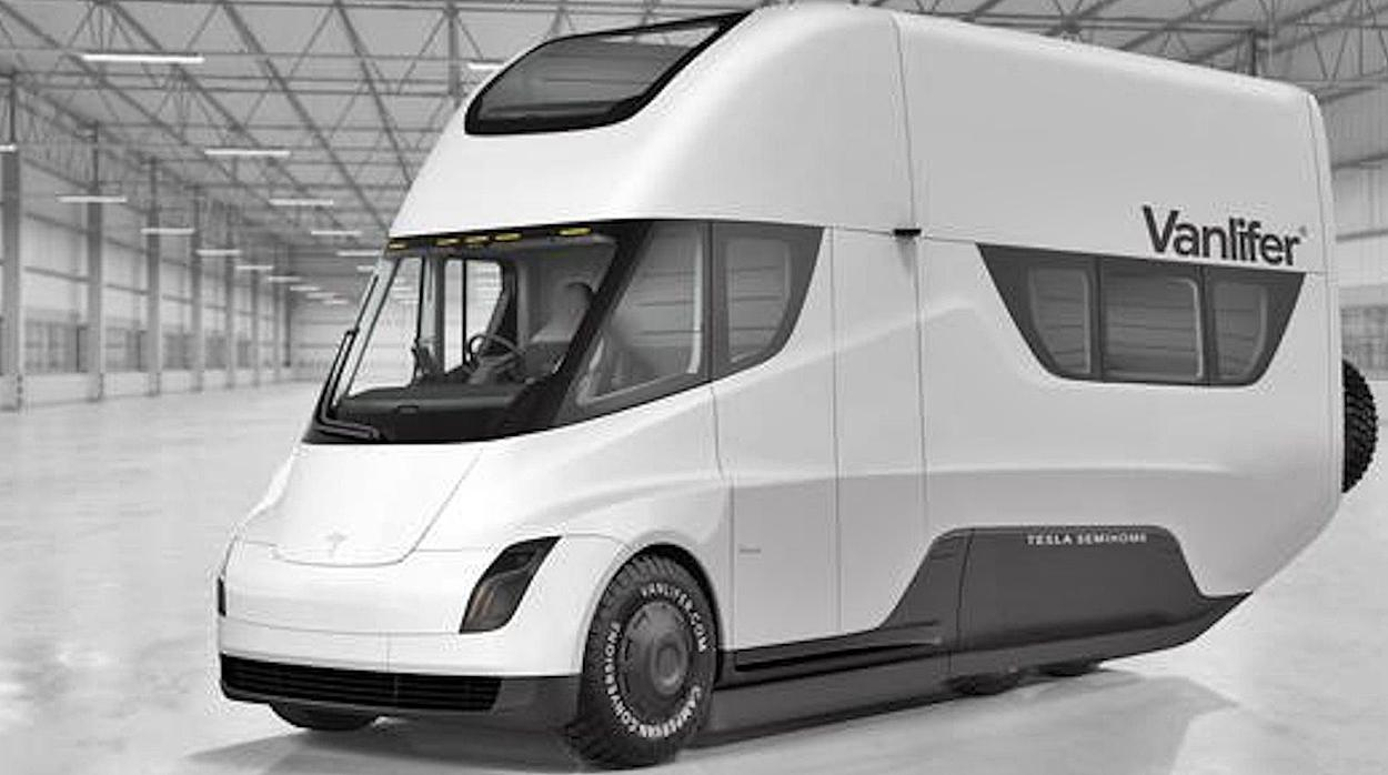 Vanlifer electric motor home mounted on a Tesla Semi (concept)