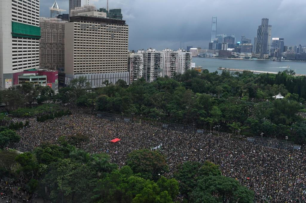 Tens of thousands of protesters gathered in Victoria Park in Hong Kong for the latest anti-government rally