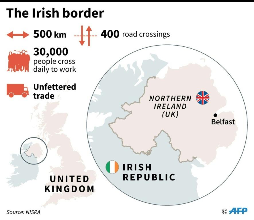 Map of Northern Ireland and the border with the Irish Republic.