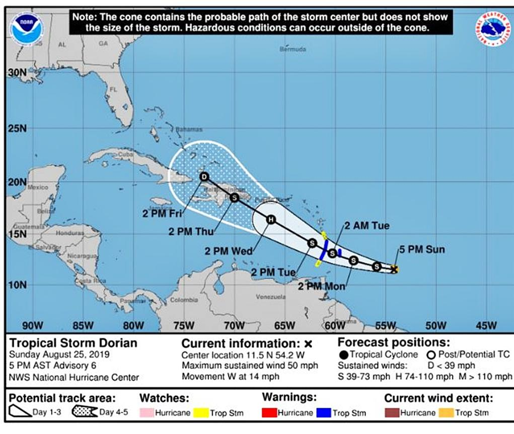 Tropical storm Dorian continues track to the northwest