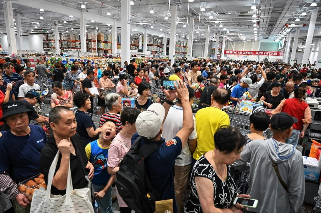 Shoppers descended on the new Costco outlet in droves to get their hands on bargains