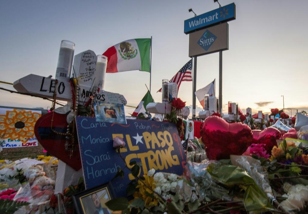 A memorial near the El Paso, Texas Walmart where 22 people were killed in August during a mass shooting