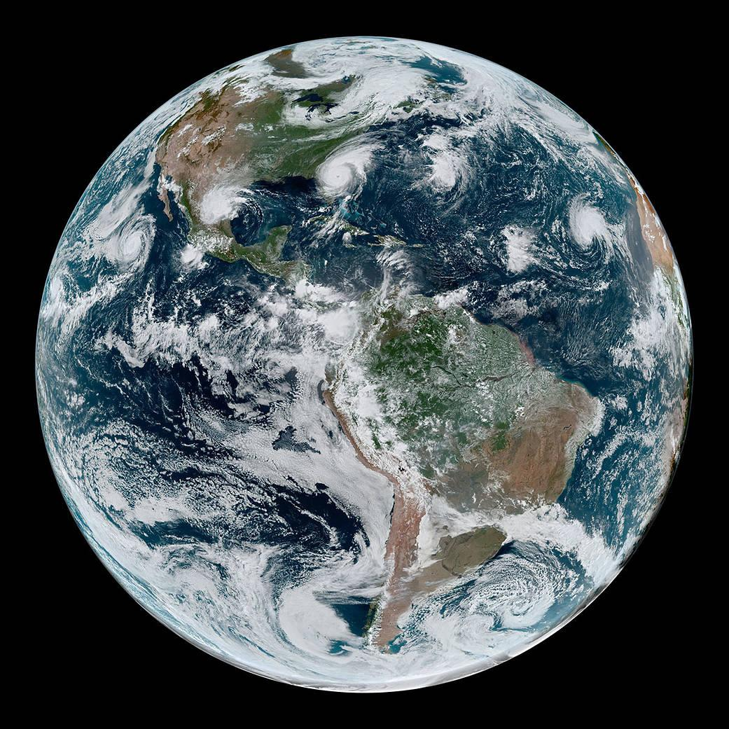 NASA image showing four tropical cycolones in the Western Hemisphere as of Sept