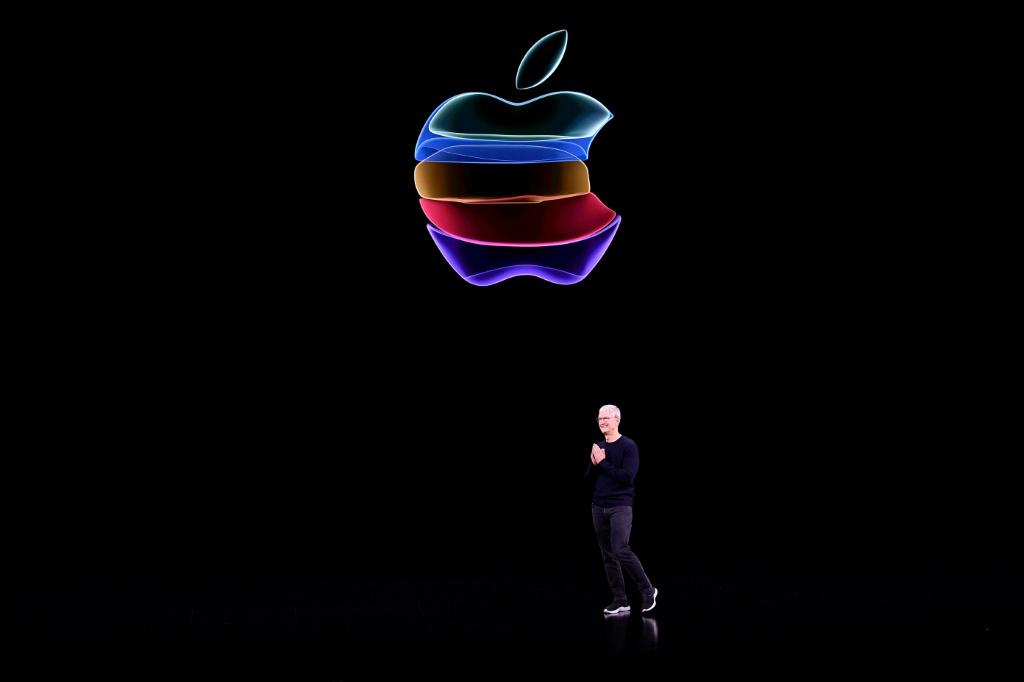 Apple CEO Tim Cook speaks on-stage during a product launch event at Apple's headquarters in Cupertino,