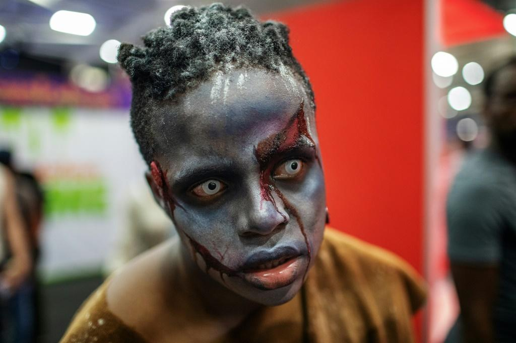 """A cosplayer is dressed as a character from """"The Walking Dead"""