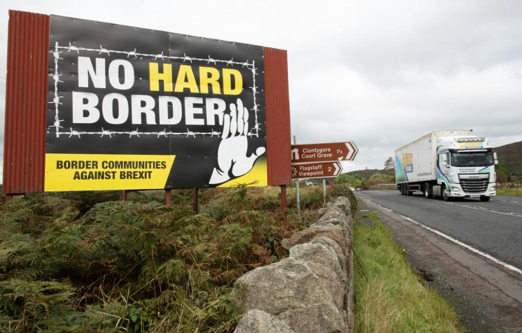 An anti-Brexit message along the road between Newry in Northern Ireland and Dundalk in the Irish Republic