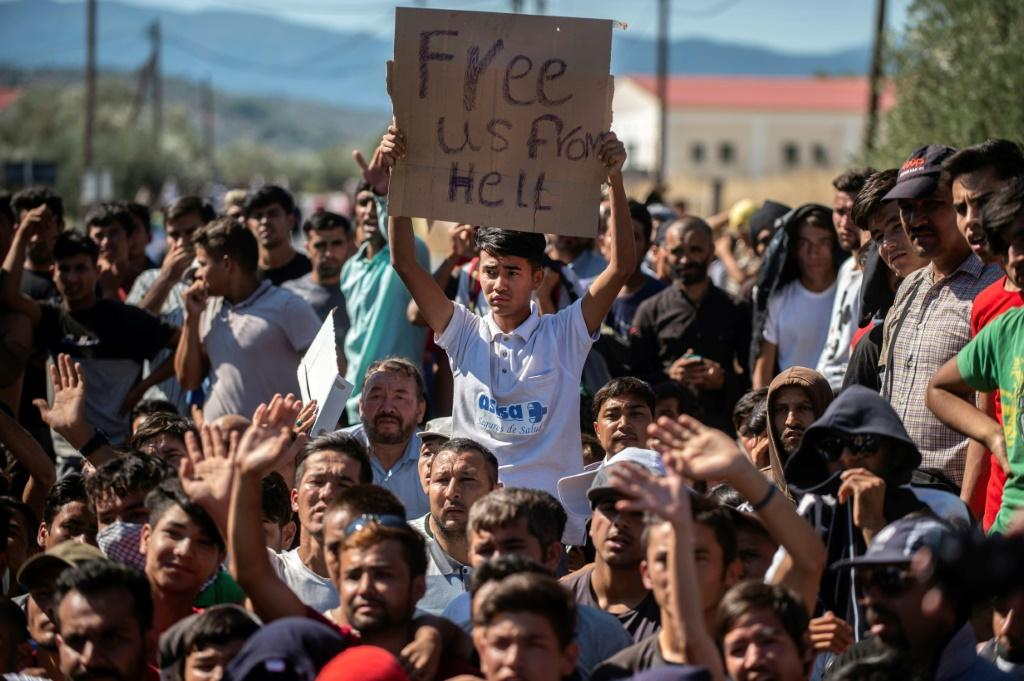 Refugees and migrants trapped in the Moria camp on Lesbos are increasingly angry at conditions there
