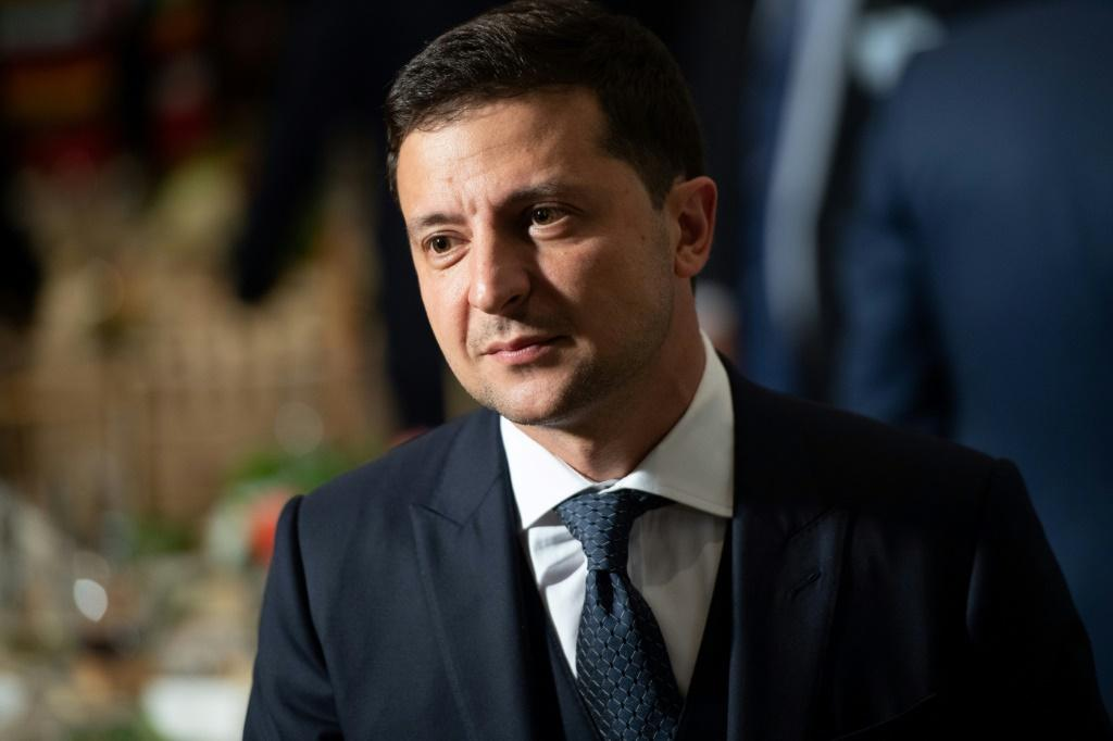 "Ukraine's President Volodymyr Zelensky has called on the nation not ""to give in to provocations;"" Zelensky is pictured September 24, 2019"