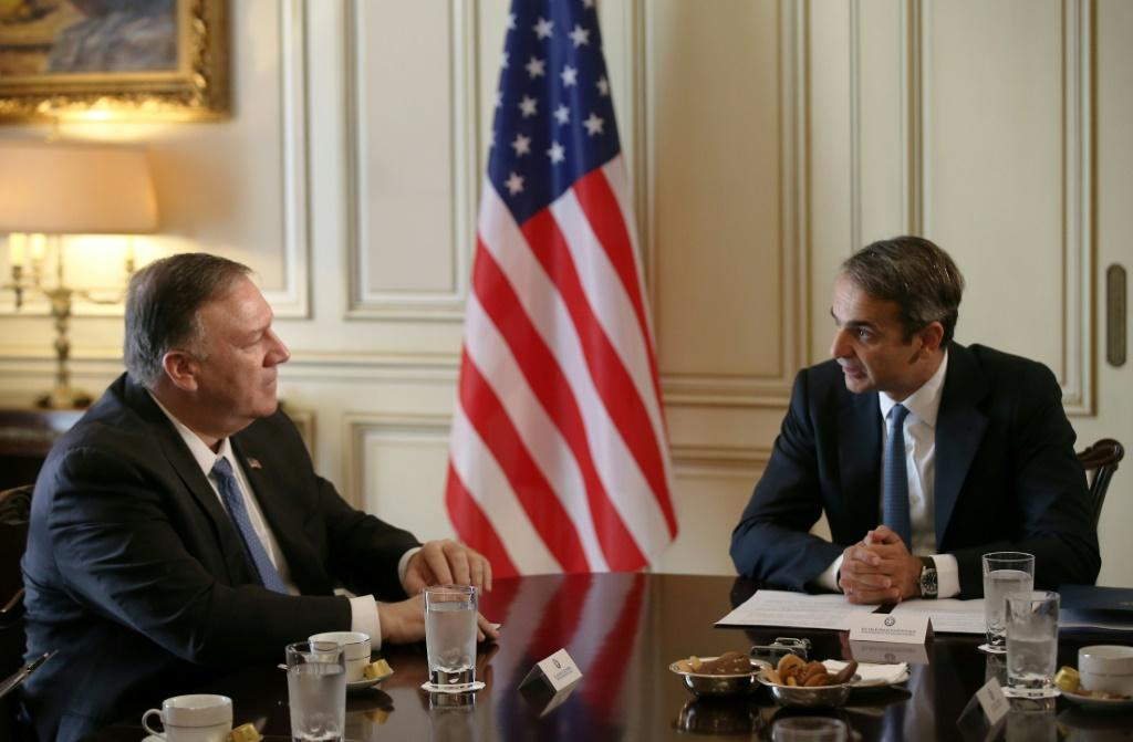 Pompeo shrugged off a demonstration in Athens as well as all talk of Ukraine as he met with Greek Prime Minister Kyriakos Mitsotakis to wind up a four-nation tour of Europe