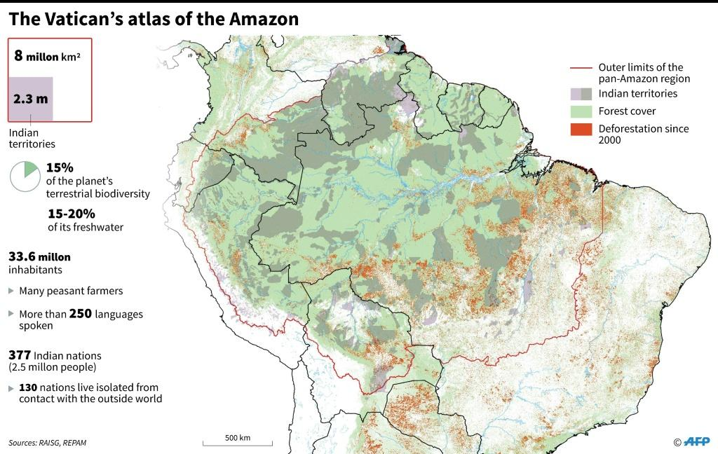 Map of the Amazon used by the synod charged with protecting the rainforest and its inhabitants