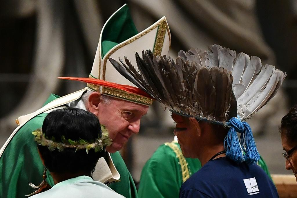 Representatives of the Amazon rainforest's ethnic groups attended the synod with Pope Francis