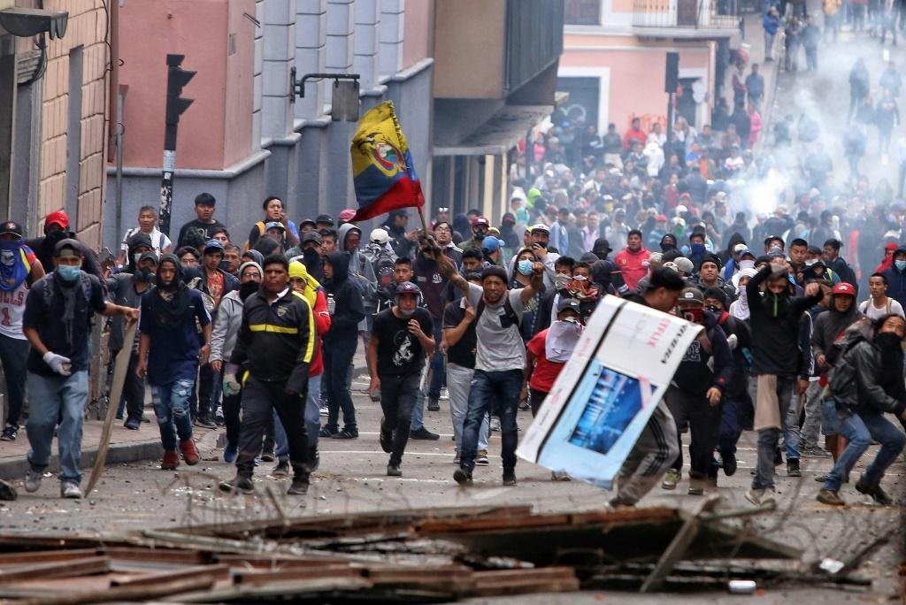 Indigenous people and farmers, protesting rising fuel prices, clashed with police ahead of a large demonstration planned for Wednesday in the capital
