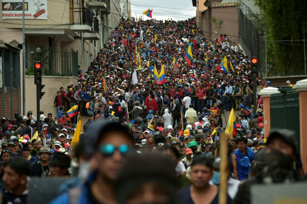 A sea of protesters converge on a plaza in Ecuador's capital Quito on October 9, 2019