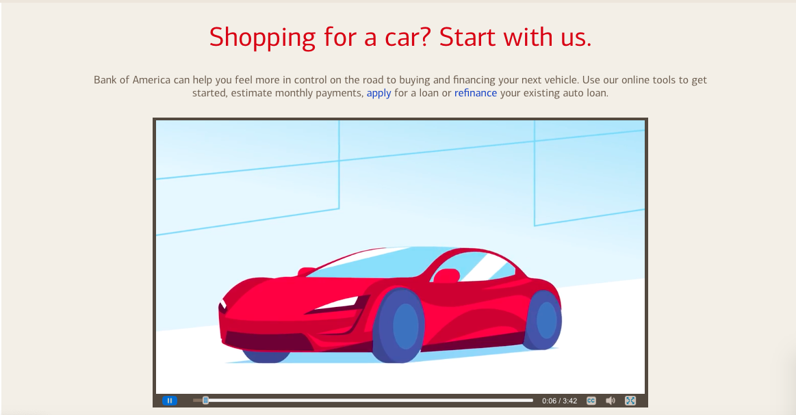 bank of america car loan tesla