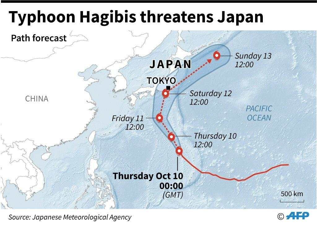 Map showing forecast path of typhoon Hagibis which is approaching Japan and threatens to disrupt the Rugby World Cup and the Japanese Grand Prix.