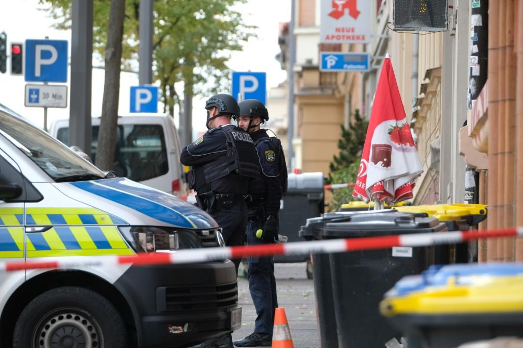 Policemen secured the area around the site of a shooting in the Germany city of Halle