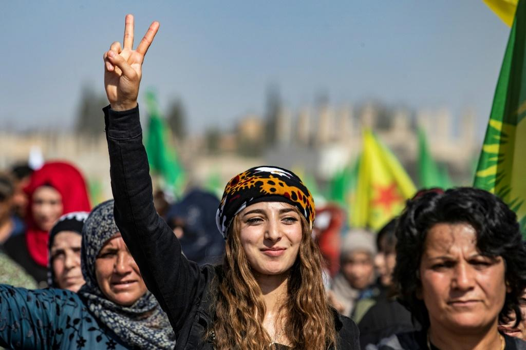 Syrian Kurds demonstrated against the Turkish invasion in the town of Ras al-Ain