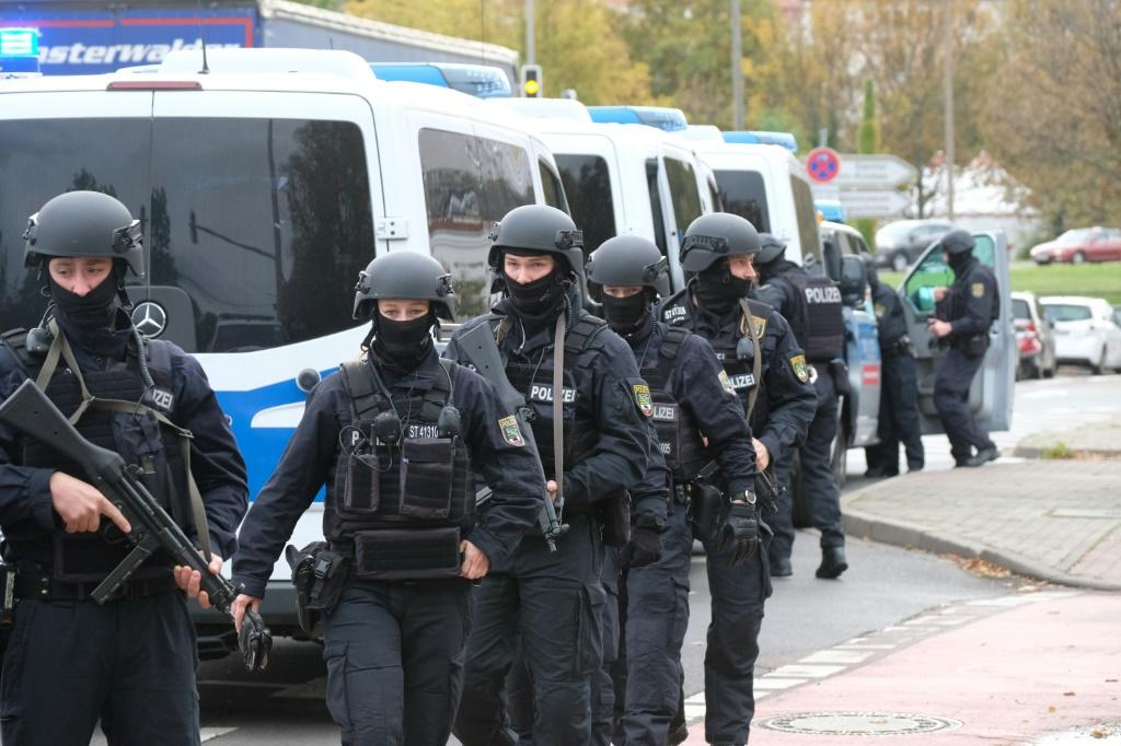 The area is under lockdown after a shooting in the German city of Halle