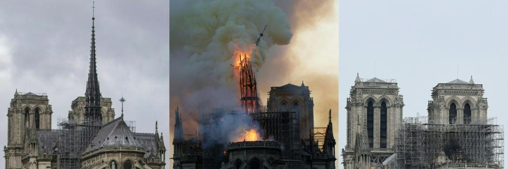 A view of Notre-Dame cathedral's steeple and spire before, during and after the blaze