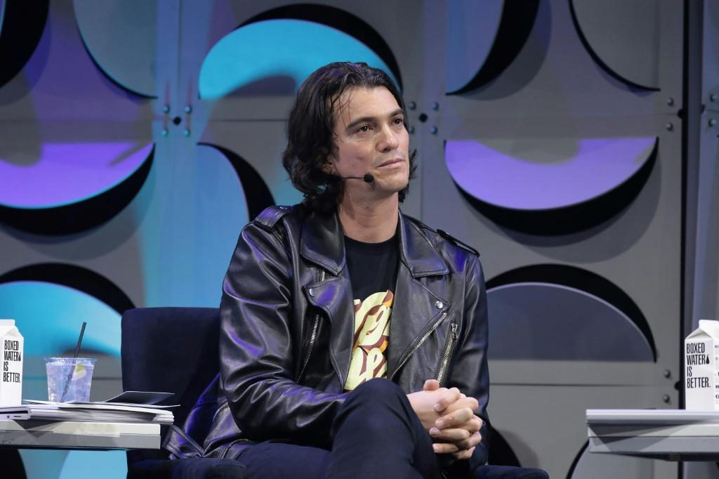 Adam Neumann, pictured in January 2018, announced last month that he was stepping down as chief executive of WeWork