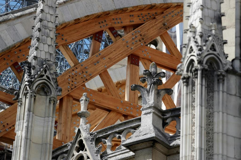 Beams are being installed to prevent arches damaged by the blaze from collapsing
