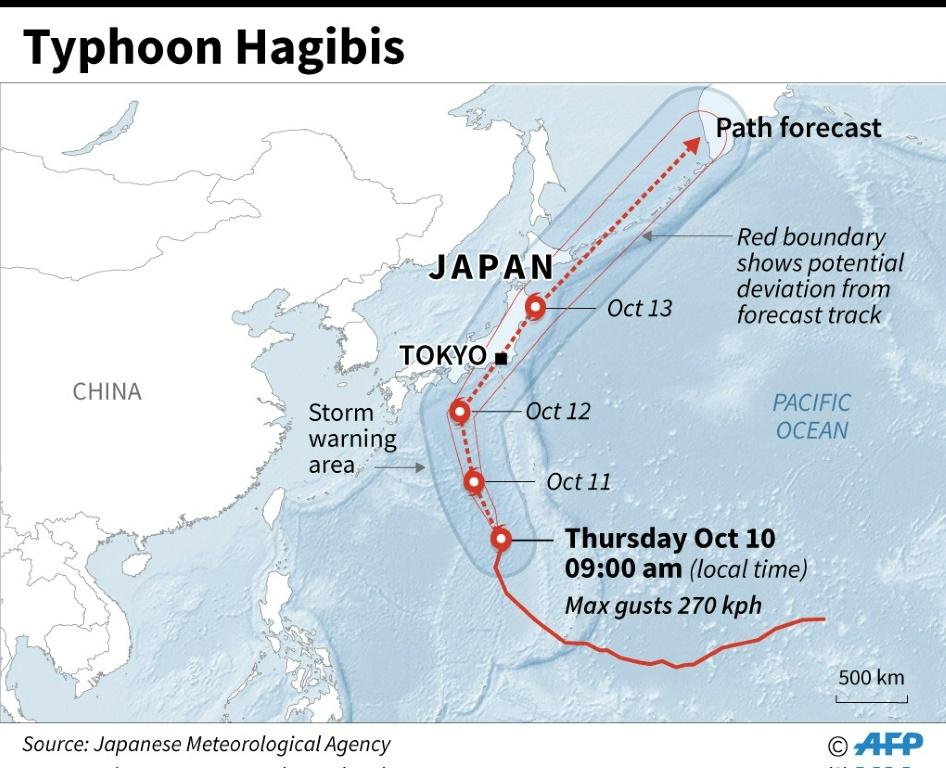 Map showing forecast path of typhoon Hagibis which is approaching Japan and threatens to disrupt the Rugby World Cup.