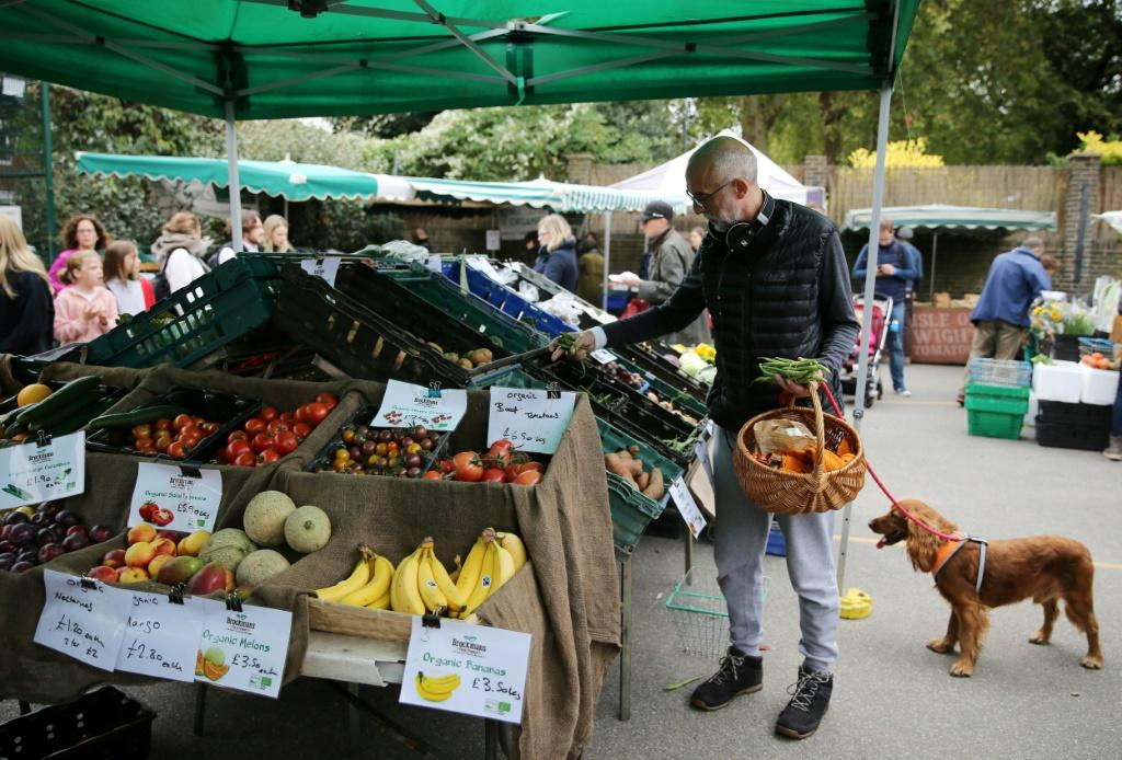 Fans of organic produce wander among the stalls at The Spread farmers' market in the trendy Primrose Hill area of London