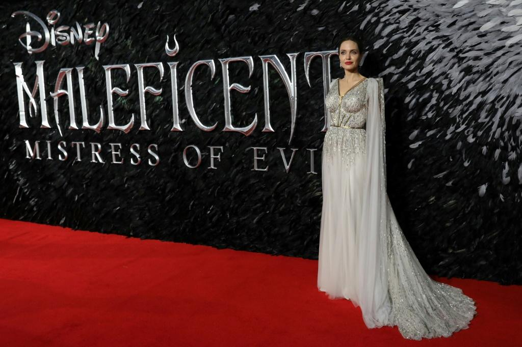 "US actress Angelina Jolie on the red carpet at the European premiere of the film ""Maleficent: Mistress of Evil"" in London on October 9, 2019"