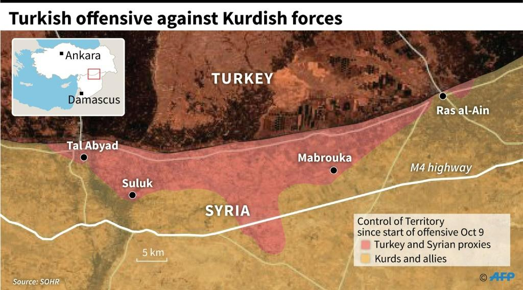 Satellite map showing areas under control by Turkey and Syria proxies in an offensive against the Kurds in northeastern Syria since October 9.