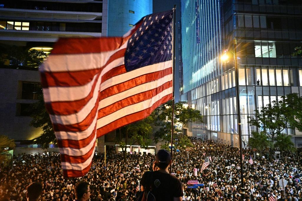 The American flag has been a feature of several of the rallies that have taken place in Hong Kong over the last four months