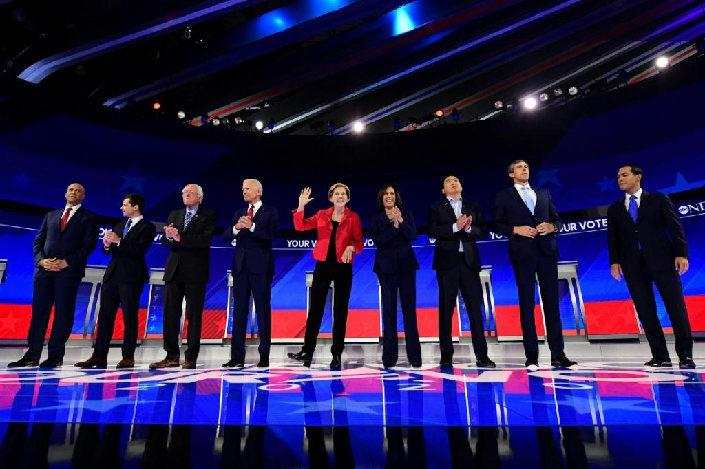 The October 15, 2019 Democratic presidential debate will be more crowded than September's event shown here, as 12 candidates will take the stage vying for the opportunity to challenge President Donald Trump in the 2020 election