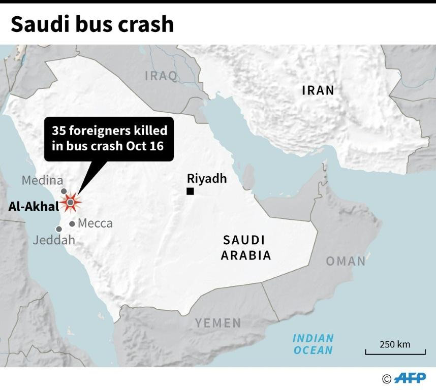 Map locating a fatal bus crash in Saudi Arabia on Wednesday.