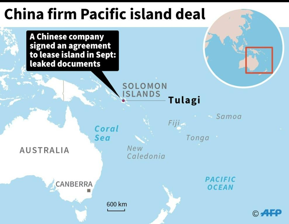 Map locating Tulagi in the Solomon islands, leased to a Chinese firm according to leaked documents