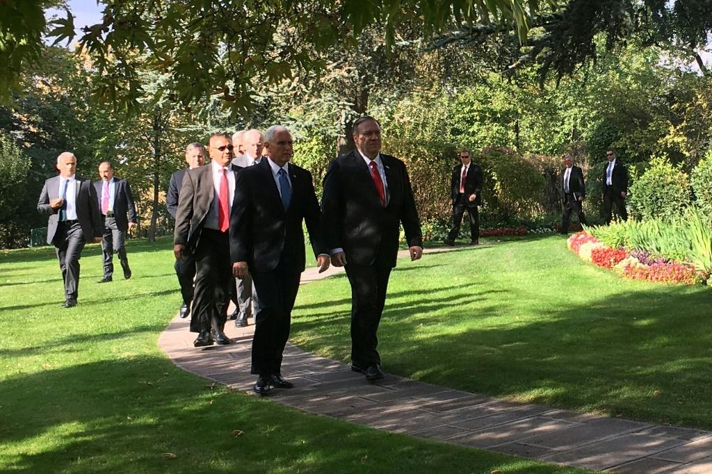 The Turkish operation has triggered a flurry of diplomacy among major powers. US Vice President Pence, left, is shown walking alongside Secretary of State Mike Pompeo outside the US ambassador's residence in Ankara