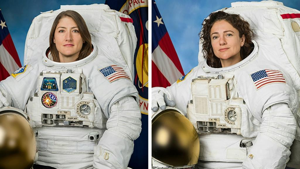 Christina Koch (left) is leading Jessica Meir, , who is making her first ever spacewalk
