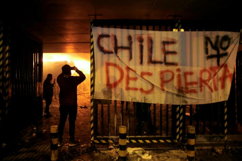 Nearly all of Santiago's 164 subway stations were damaged, with several set on fire by protestors