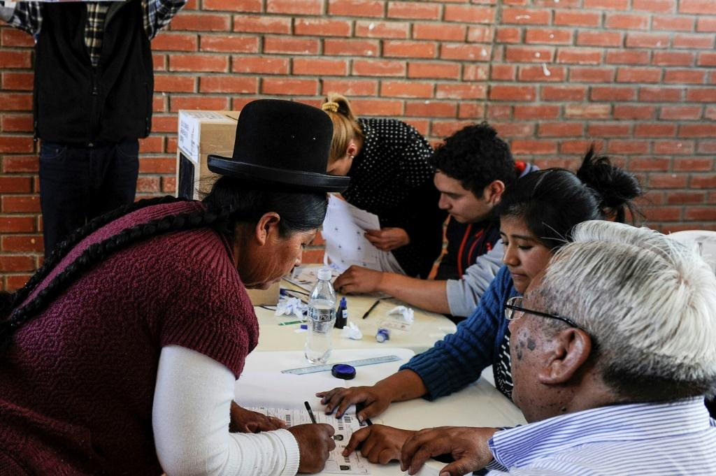 An Aymara woman casts her vote in La Paz