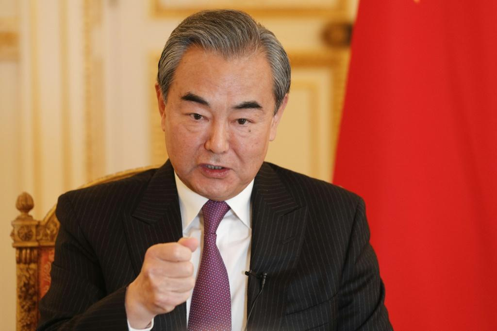 Chinese Foreign Minister Wang Yi during his AFP interview in paris