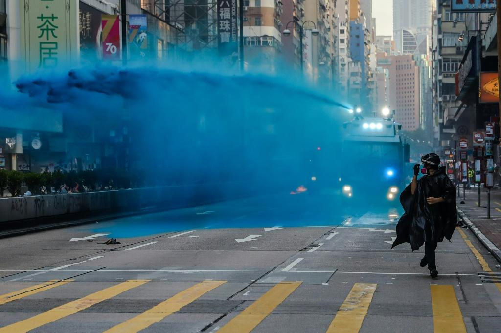 Hong Kong police have used blue dye as a way to identify protesters during confrontations