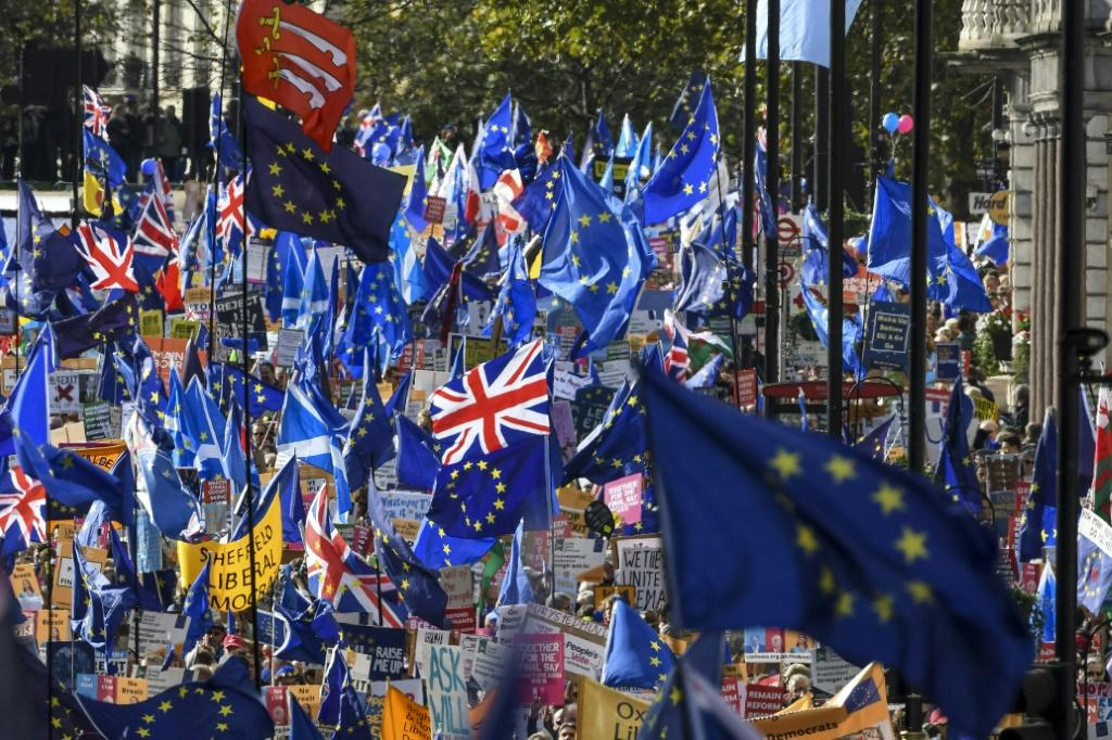Hundreds of thousands rallied in London on Saturday demanding a second national vote on Brexit