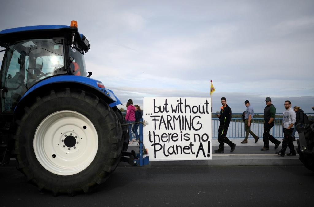 Farm protesters in Bonn, Germany on Tuesday