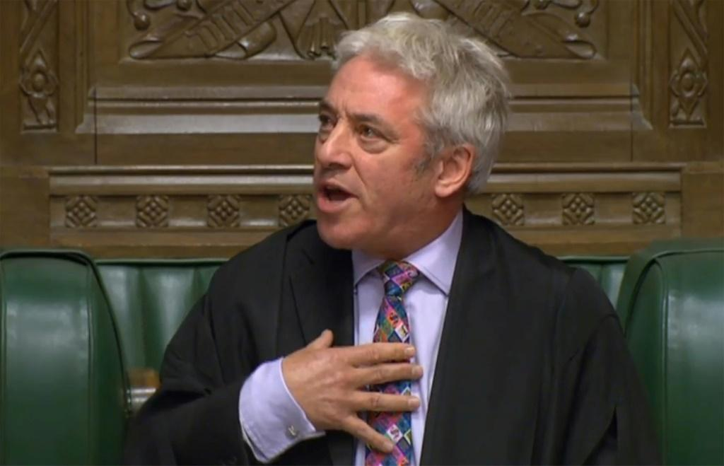 UK Parliament Speaker John Bercow makes his statement blocking a vote on the new Brexit divorce bill on Monday