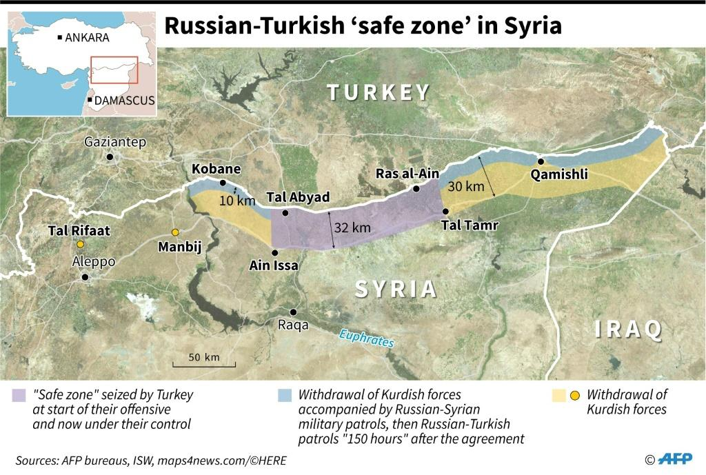 "Map locating the Turkish ""safe zone"" in northeastern Syria as agreed by Russia and Turkey, in which Kurdish forces withdraw before deployment of Russian and Syrian military patrols then Russian and Turkish."