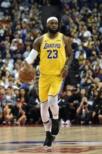 LeBron James of the Los Angeles Lakers plays a pre-season game in Shanghai in October 2019