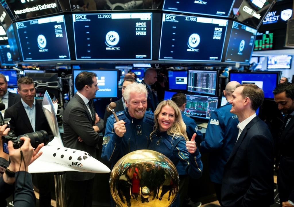 Richard Branson, founder of Virgin Galactic, poses before ringing the First Trade Bell to commemorate the company's first day of trading on the New York Stock Exchange on October 28, 2019 in New York