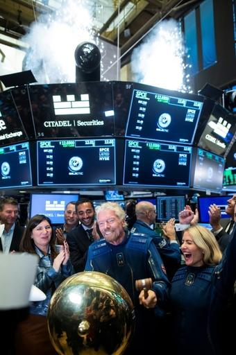 The New York Stock Exchange celebrated the listing of Virgin Galactic with a modest fireworks display